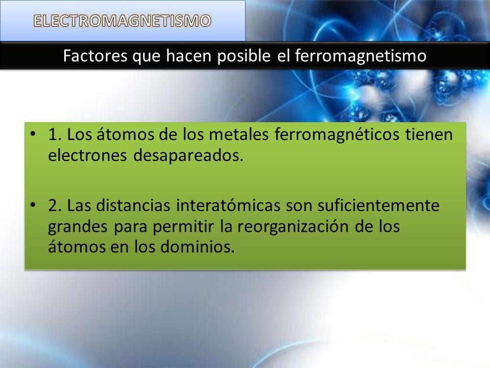 Factores que hacen posible el ferromagnetismo 1. Los átomos de los metales ferromagnéticos tienen electrones desapareados. 2. Las distancias interatóm
