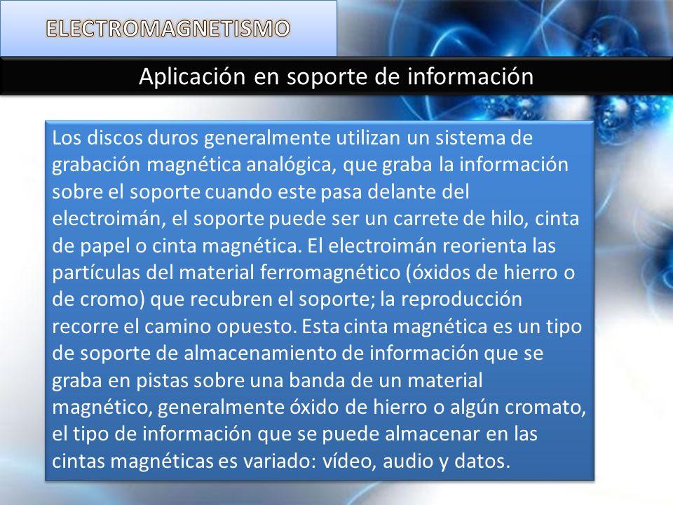 Aplicación en soporte de información Los discos duros generalmente utilizan un sistema de grabación magnética analógica, que graba la información sobr