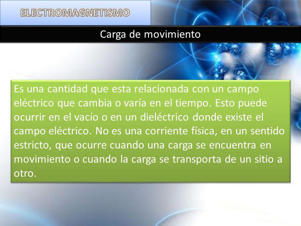 Carga de movimiento Es una cantidad que esta relacionada con un campo eléctrico que cambia o varía en el tiempo. Esto puede ocurrir en el vacío o en u