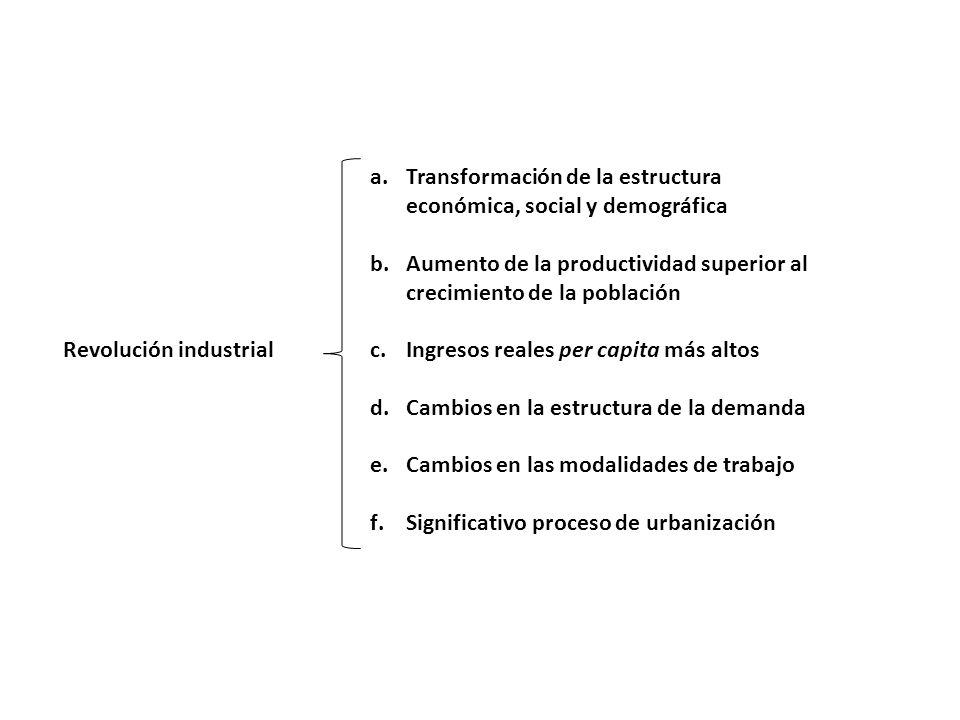 a.Transformación de la estructura económica, social y demográfica b.Aumento de la productividad superior al crecimiento de la población c.Ingresos rea