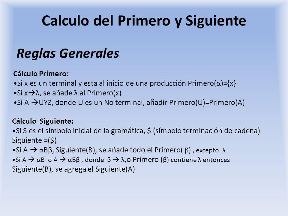 Calculo del Primero y Siguiente Reglas Generales Cálculo Primero: Si x es un terminal y esta al inicio de una producción Primero(α)={x} Si x λ, se aña