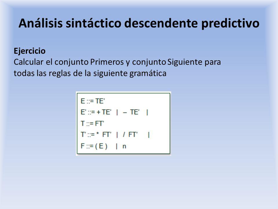 Análisis sintáctico descendente predictivo Ejercicio Calcular el conjunto Primeros y conjunto Siguiente para todas las reglas de la siguiente gramátic