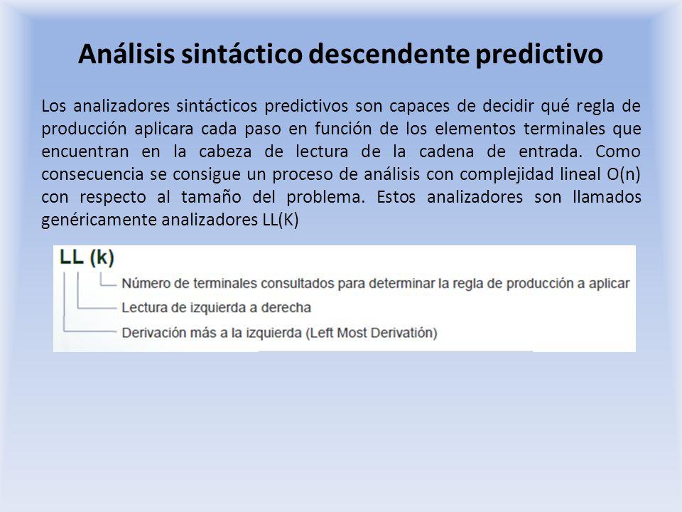 Análisis sintáctico descendente predictivo Analizadores predictivos Se determina qué regla aplicar a partir de un análisis de los primeros tokens a la entrada Analizadores predictivos LL (1) Determinan que regla de producción aplicar en cada paso en función de token que se encuentra en cada momento en la cabeza de lectura Analizadores predictivos LL (k) Determinan que regla de producción aplicar en cada paso en función de los k primeros tokens que se encuentra en cada momento en la cabeza de lectura