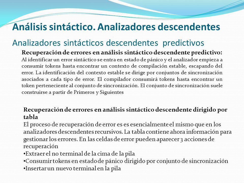 Análisis sintáctico. Analizadores descendentes Analizadores sintácticos descendentes predictivos Recuperación de errores en análisis sintáctico descen