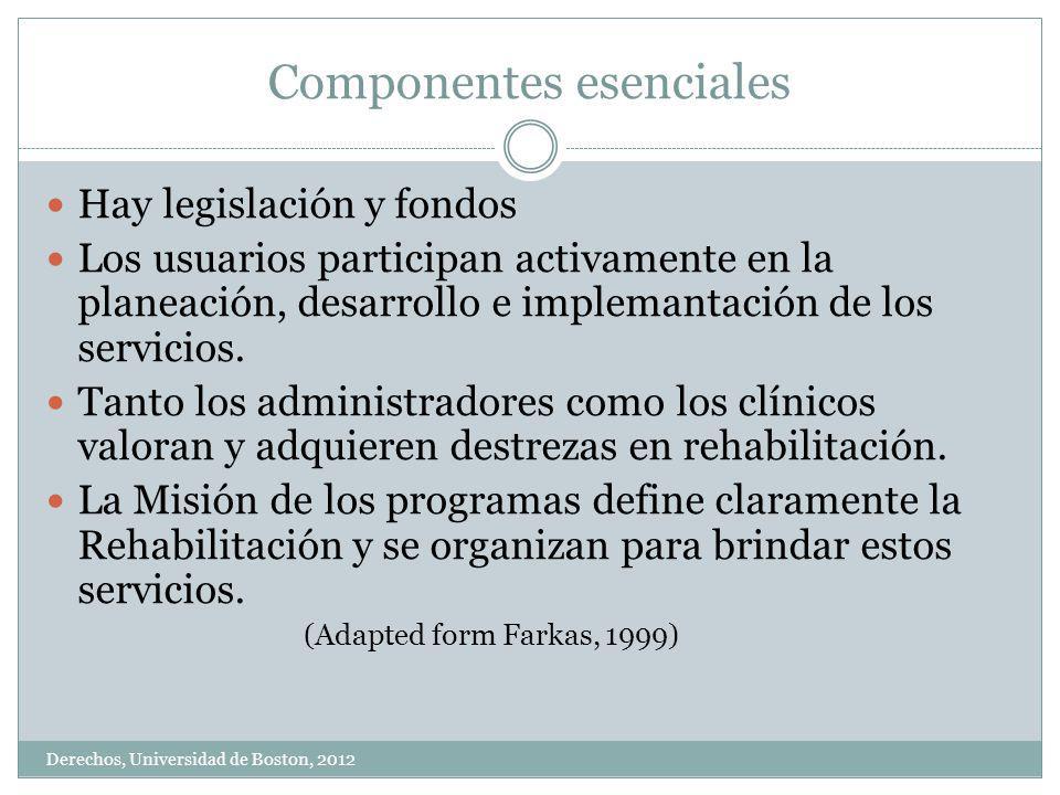 Componentes esenciales Derechos, Universidad de Boston, 2012 Hay legislación y fondos Los usuarios participan activamente en la planeación, desarrollo e implemantación de los servicios.