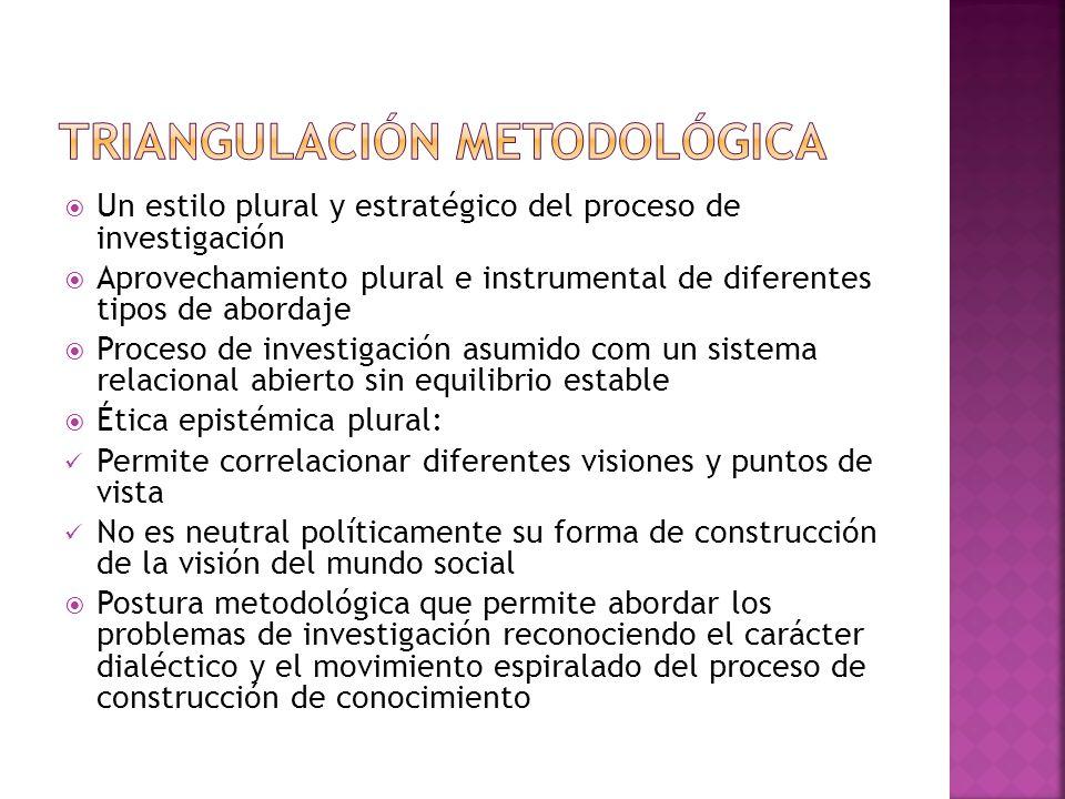 Un estilo plural y estratégico del proceso de investigación Aprovechamiento plural e instrumental de diferentes tipos de abordaje Proceso de investiga