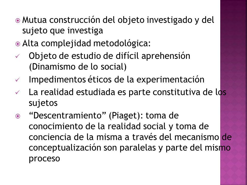 Mutua construcción del objeto investigado y del sujeto que investiga Alta complejidad metodológica: Objeto de estudio de difícil aprehensión (Dinamism