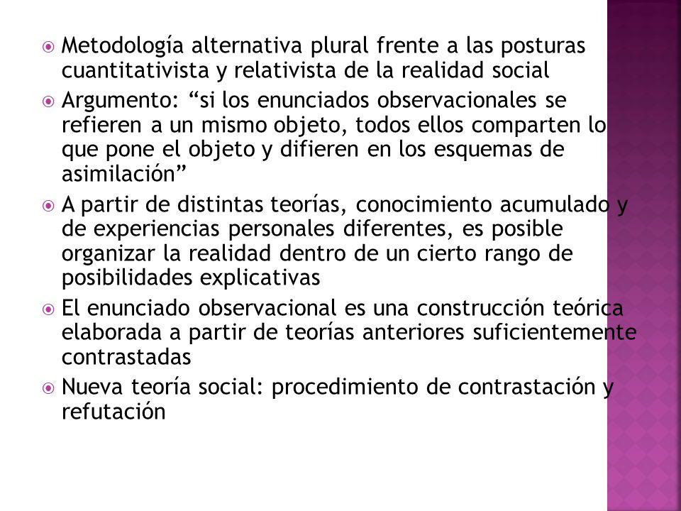 Metodología alternativa plural frente a las posturas cuantitativista y relativista de la realidad social Argumento: si los enunciados observacionales