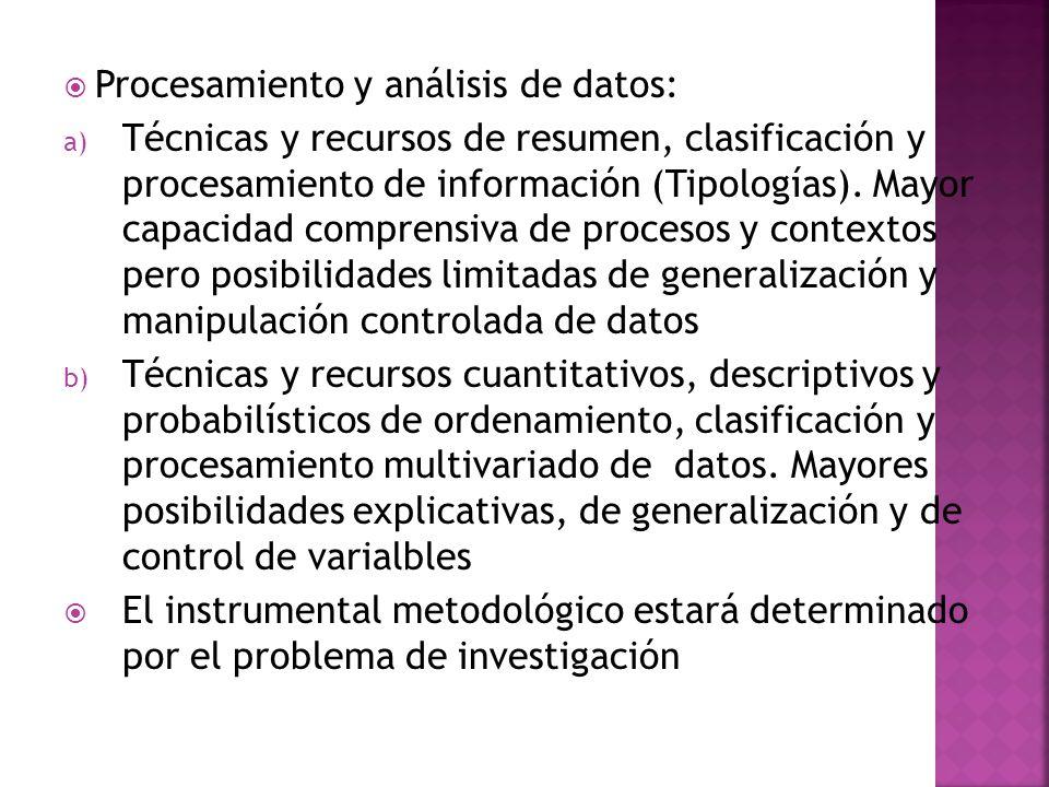 Procesamiento y análisis de datos: a) Técnicas y recursos de resumen, clasificación y procesamiento de información (Tipologías). Mayor capacidad compr