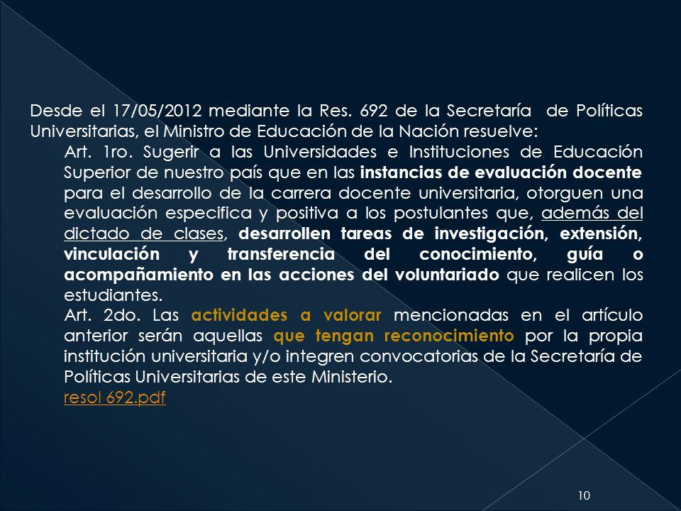 10 Desde el 17/05/2012 mediante la Res. 692 de la Secretaría de Políticas Universitarias, el Ministro de Educación de la Nación resuelve: Art. 1ro. Su