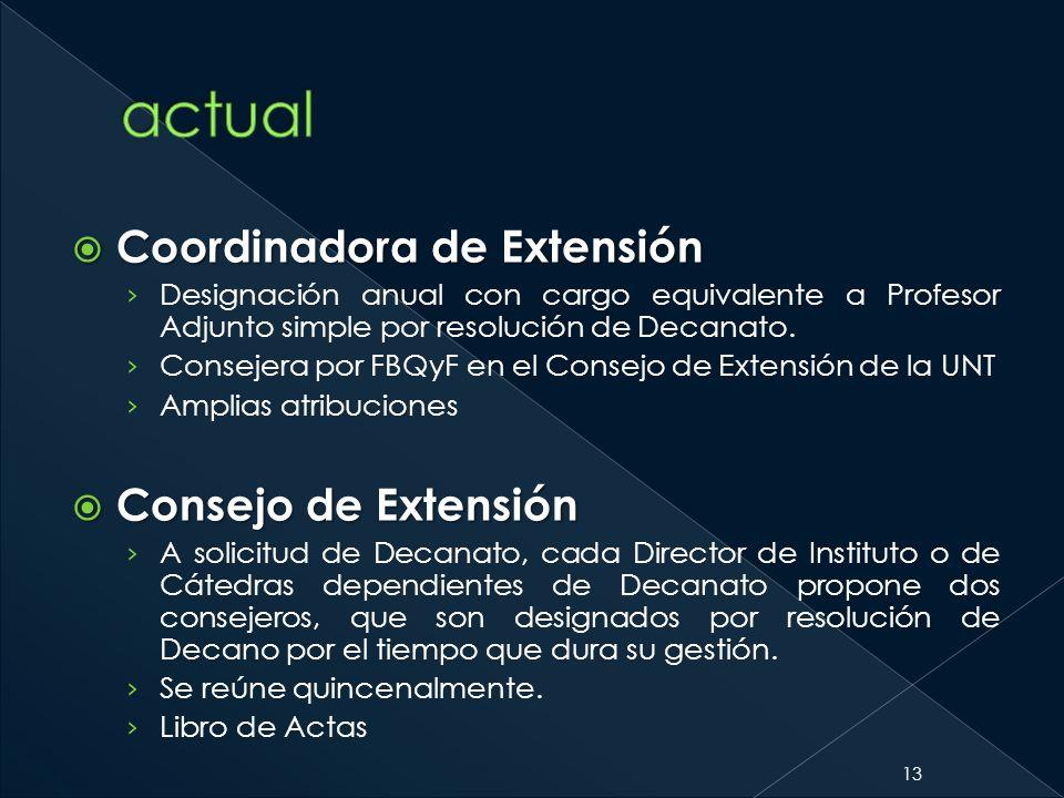 Coordinadora de Extensión Coordinadora de Extensión Designación anual con cargo equivalente a Profesor Adjunto simple por resolución de Decanato. Cons