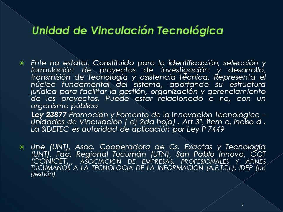 Ente no estatal. Constituido para la identificación, selección y formulación de proyectos de investigación y desarrollo, transmisión de tecnología y a