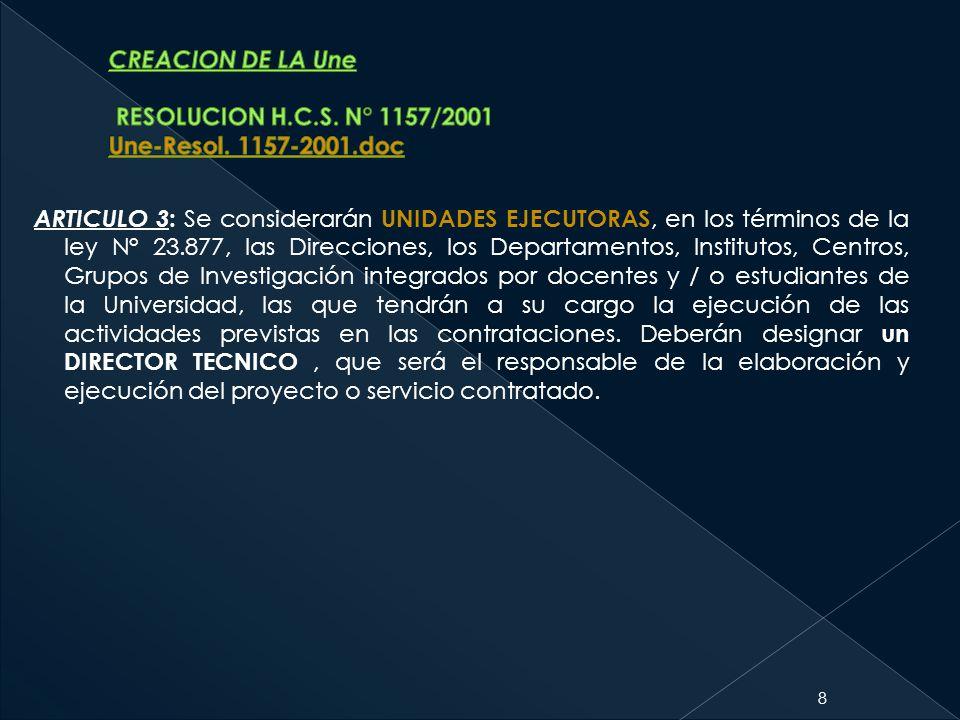 ARTICULO 3 : Se considerarán UNIDADES EJECUTORAS, en los términos de la ley N° 23.877, las Direcciones, los Departamentos, Institutos, Centros, Grupos