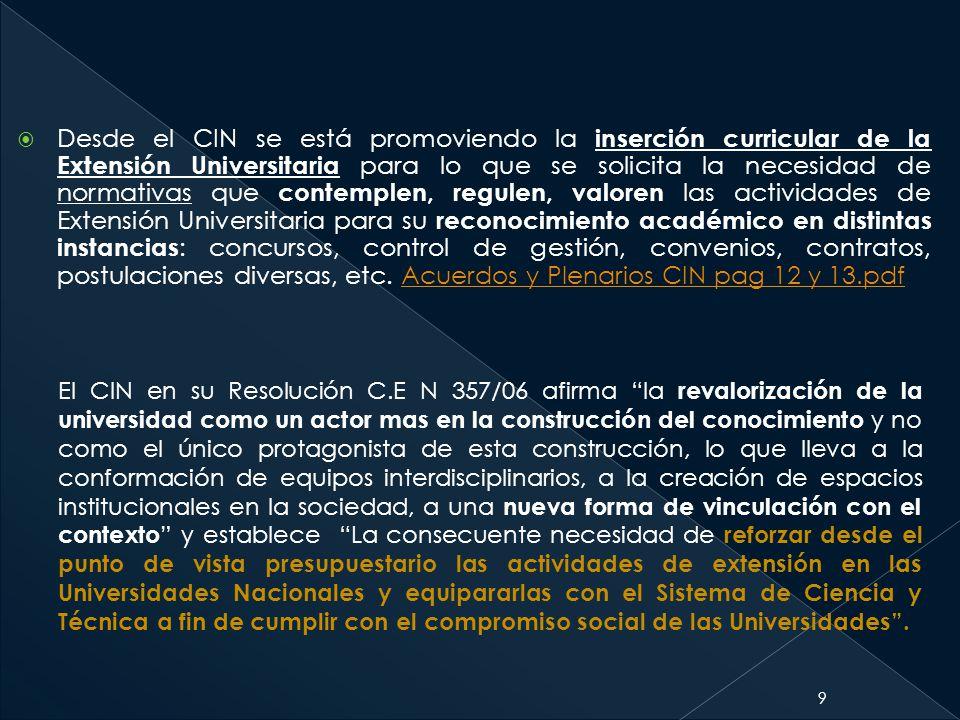 9 El CIN en su Resolución C.E N 357/06 afirma la revalorización de la universidad como un actor mas en la construcción del conocimiento y no como el ú