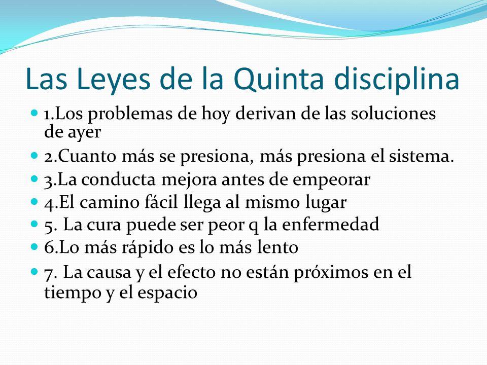 Las Leyes de la Quinta disciplina 1.Los problemas de hoy derivan de las soluciones de ayer 2.Cuanto más se presiona, más presiona el sistema. 3.La con