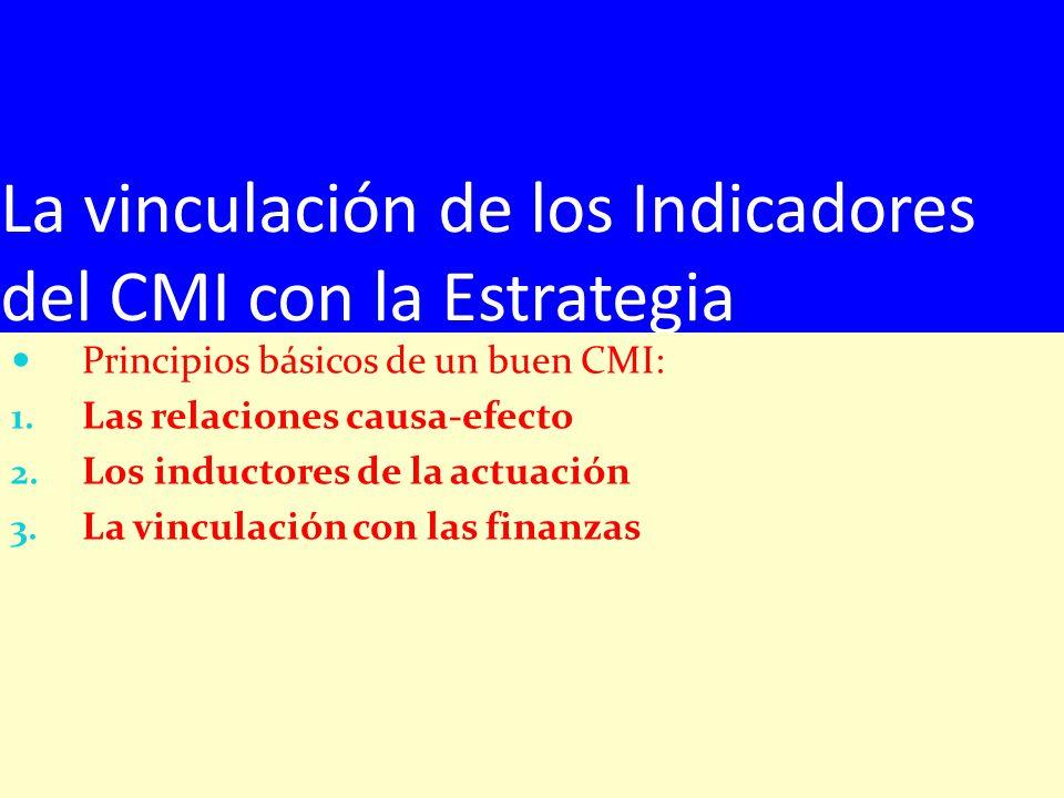 La vinculación de los Indicadores del CMI con la Estrategia Principios básicos de un buen CMI: 1. Las relaciones causa-efecto 2. Los inductores de la