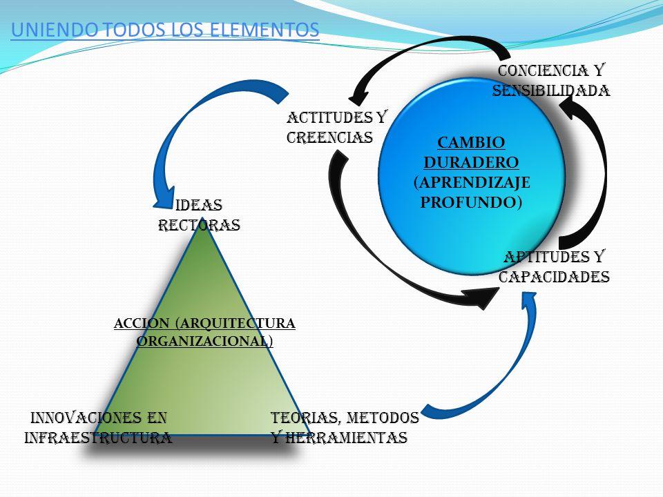 UNIENDO TODOS LOS ELEMENTOS CONCIENCIA Y SENSIBILIDADA ACTITUDES Y CREENCIAS APTITUDES Y CAPACIDADES IDEAS RECTORAS TEORIAS, METODOS Y HERRAMIENTAS IN