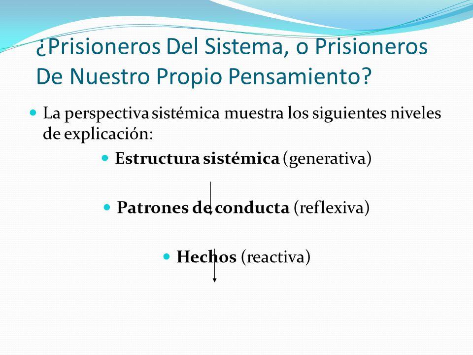 ¿Prisioneros Del Sistema, o Prisioneros De Nuestro Propio Pensamiento? La perspectiva sistémica muestra los siguientes niveles de explicación: Estruct