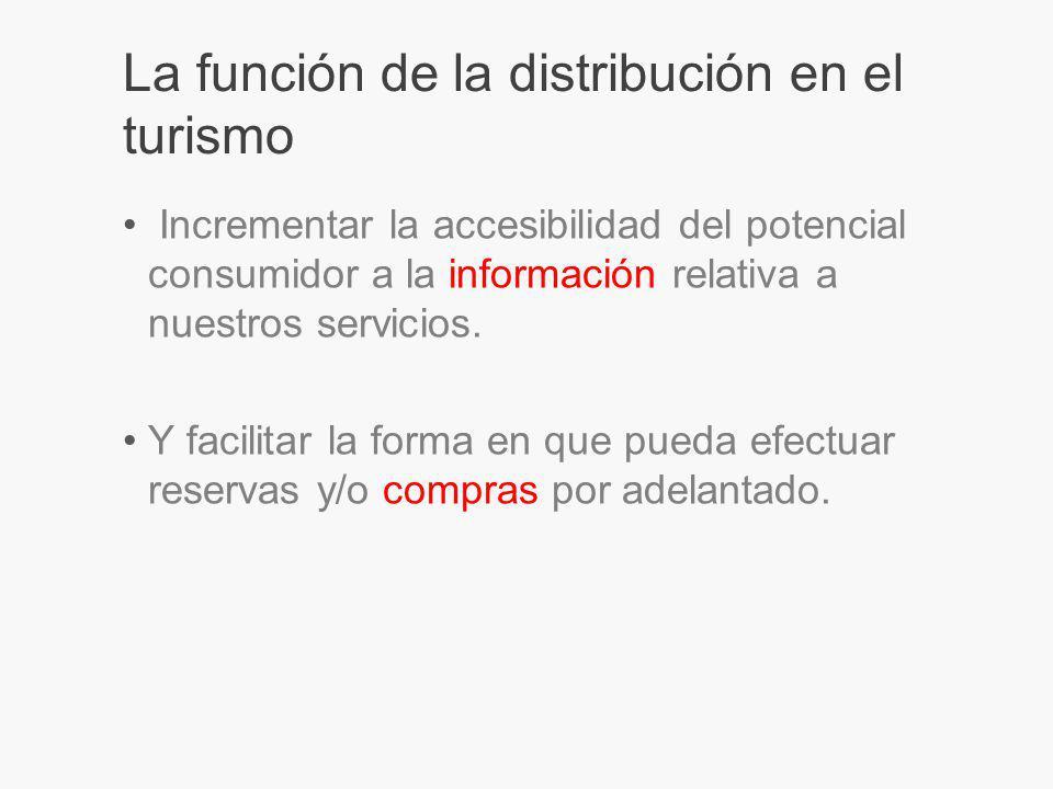 La función de la distribución en el turismo Incrementar la accesibilidad del potencial consumidor a la información relativa a nuestros servicios.