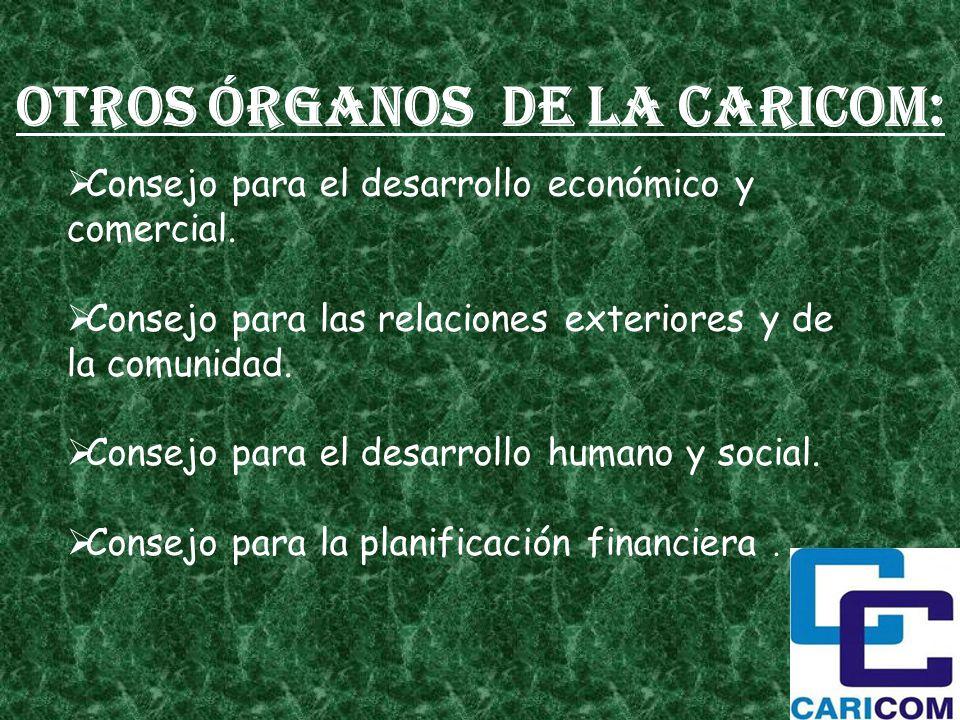 Consejo para el desarrollo económico y comercial. Consejo para las relaciones exteriores y de la comunidad. Consejo para el desarrollo humano y social