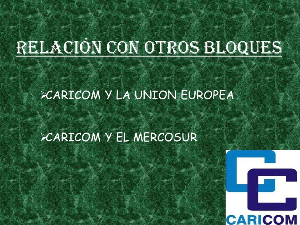 Relación con otros bloques CARICOM Y LA UNION EUROPEA CARICOM Y EL MERCOSUR