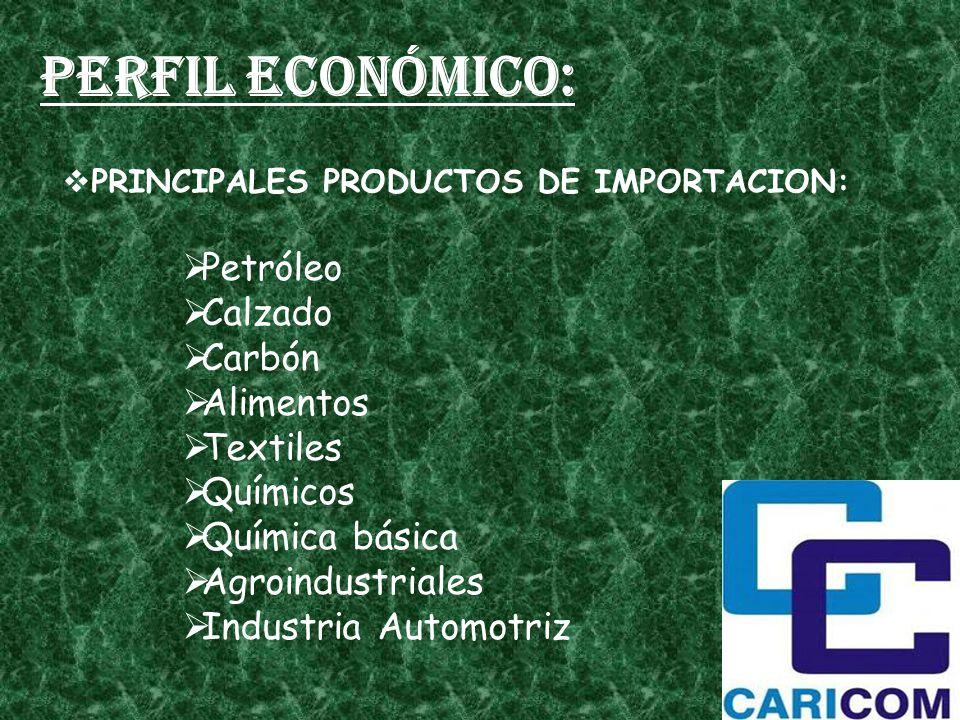 Perfil económico: PRINCIPALES PRODUCTOS DE IMPORTACION: Petróleo Calzado Carbón Alimentos Textiles Químicos Química básica Agroindustriales Industria Automotriz