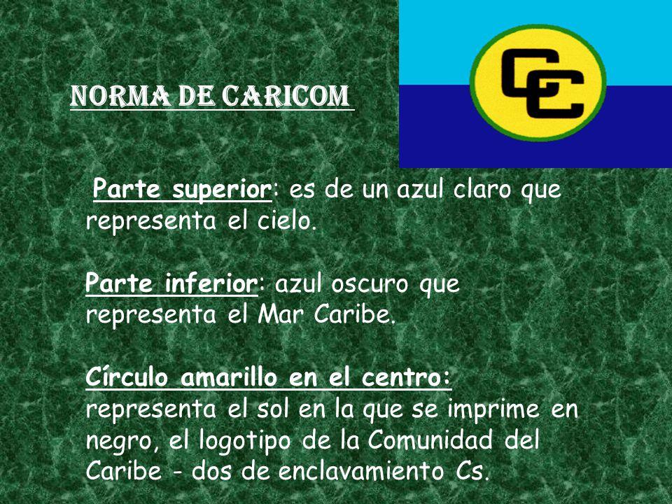 Norma de CARICOM Parte superior: es de un azul claro que representa el cielo. Parte inferior: azul oscuro que representa el Mar Caribe. Círculo amaril