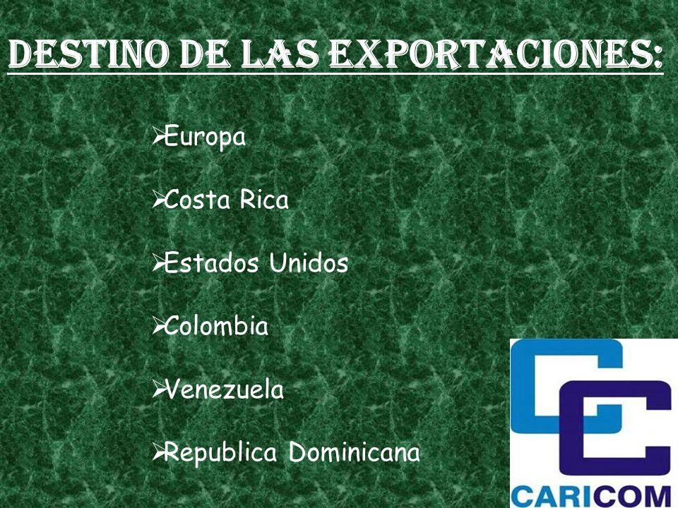Destino de las exportaciones: Europa Costa Rica Estados Unidos Colombia Venezuela Republica Dominicana