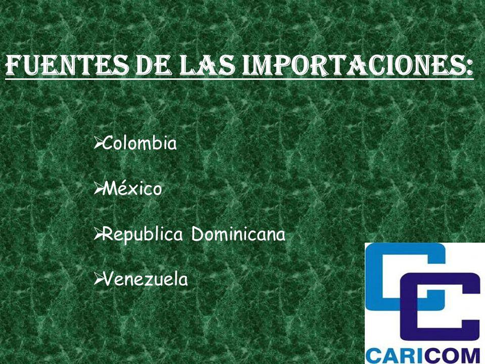Fuentes de las importaciones: Colombia México Republica Dominicana Venezuela