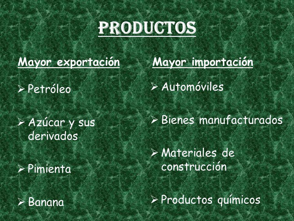 Productos Mayor exportación Petróleo Azúcar y sus derivados Pimienta Banana Mayor importación Automóviles Bienes manufacturados Materiales de construcción Productos químicos