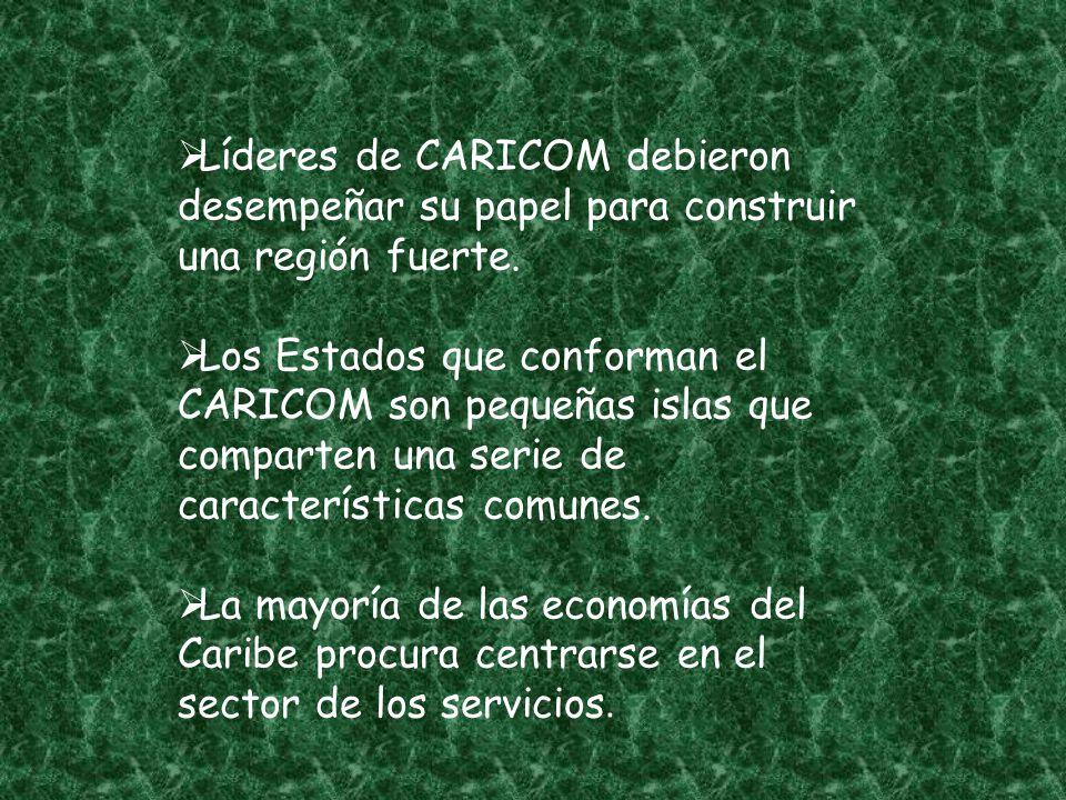 Líderes de CARICOM debieron desempeñar su papel para construir una región fuerte. Los Estados que conforman el CARICOM son pequeñas islas que comparte