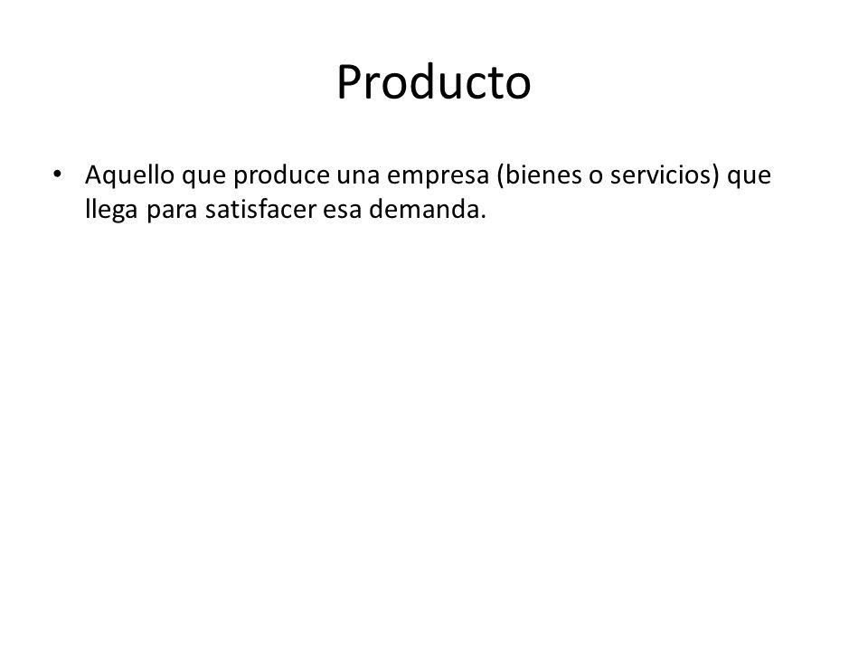 Producto Aquello que produce una empresa (bienes o servicios) que llega para satisfacer esa demanda.