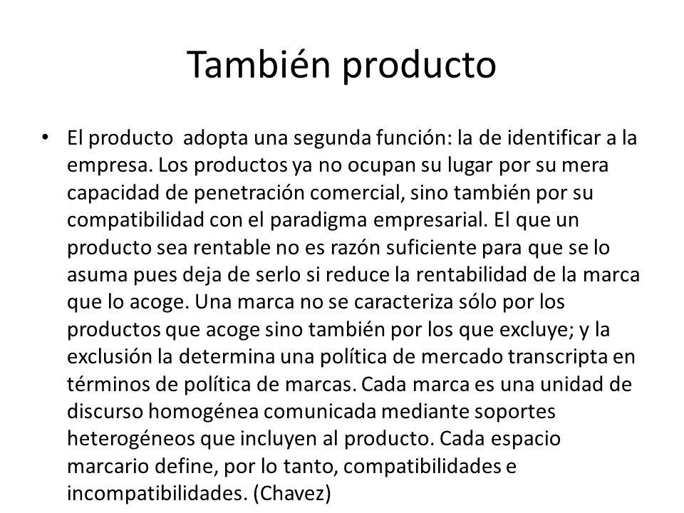 También producto El producto adopta una segunda función: la de identificar a la empresa.