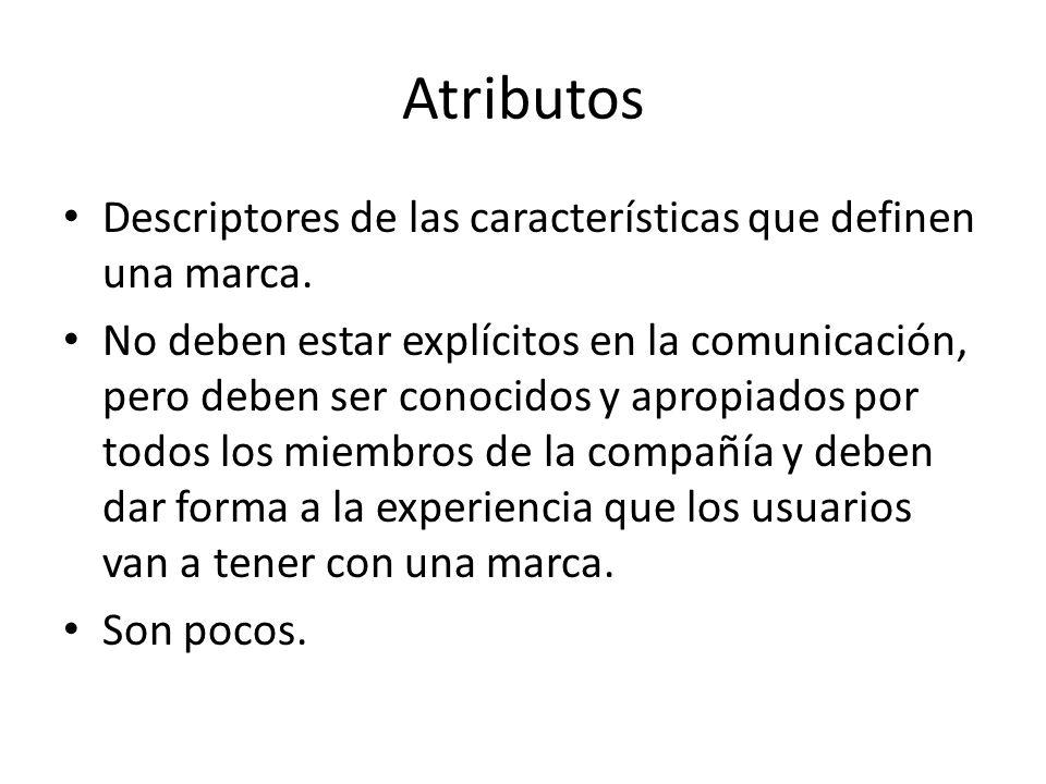 Atributos Descriptores de las características que definen una marca.