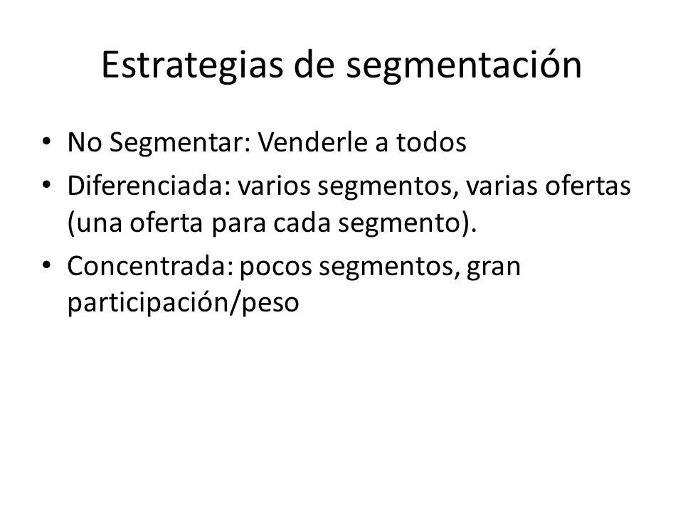 Estrategias de segmentación No Segmentar: Venderle a todos Diferenciada: varios segmentos, varias ofertas (una oferta para cada segmento).