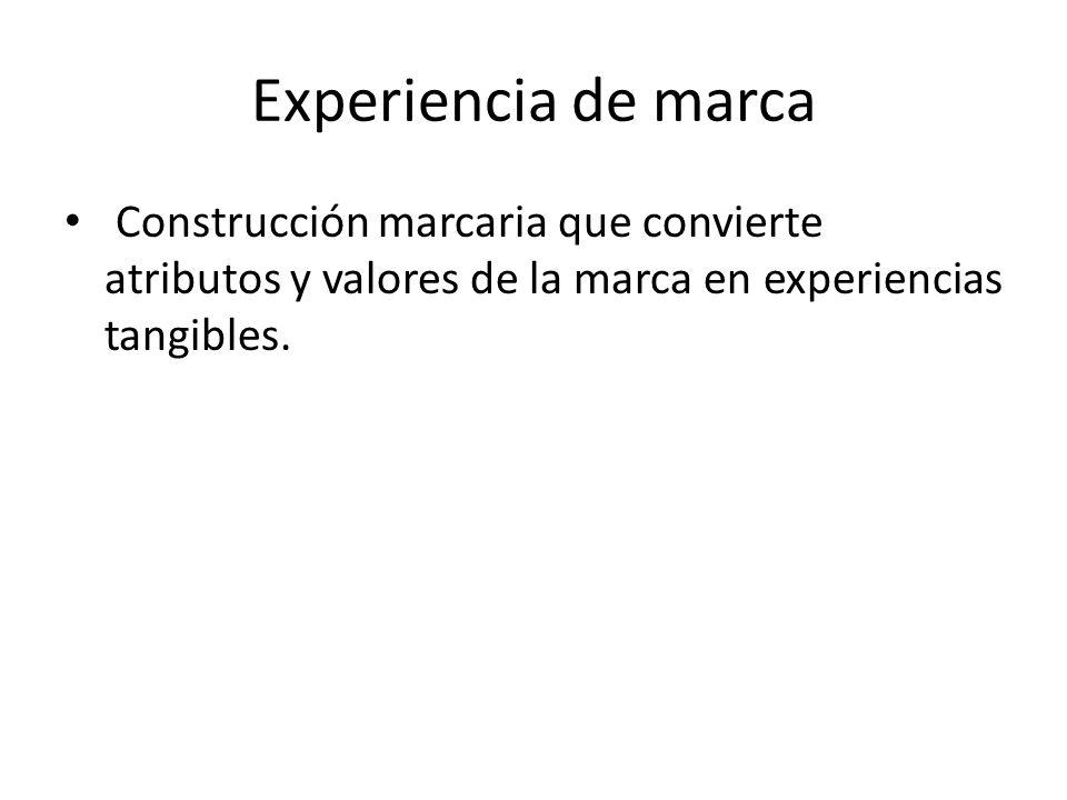 Experiencia de marca Construcción marcaria que convierte atributos y valores de la marca en experiencias tangibles.