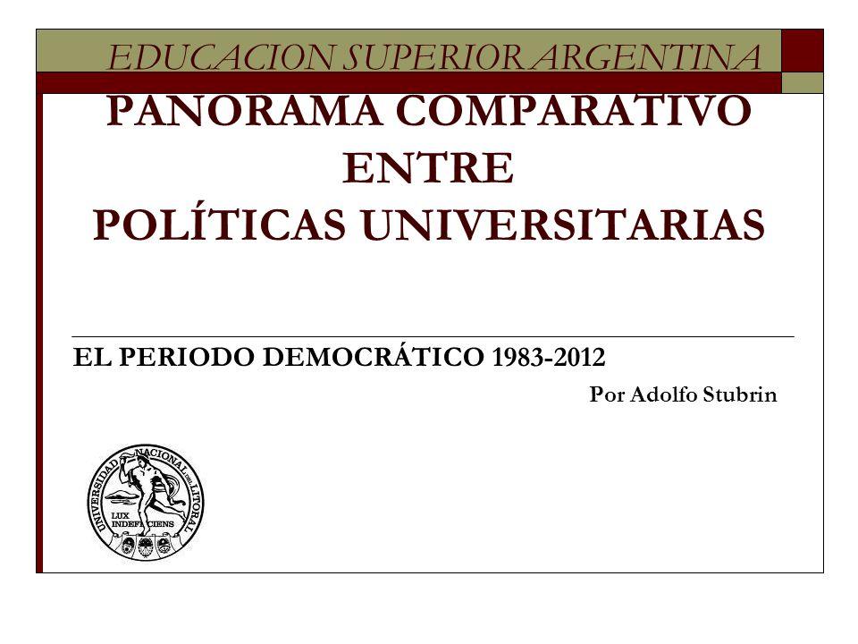 EDUCACION SUPERIOR ARGENTINA PANORAMA COMPARATIVO ENTRE POLÍTICAS UNIVERSITARIAS EL PERIODO DEMOCRÁTICO 1983-2012 Por Adolfo Stubrin