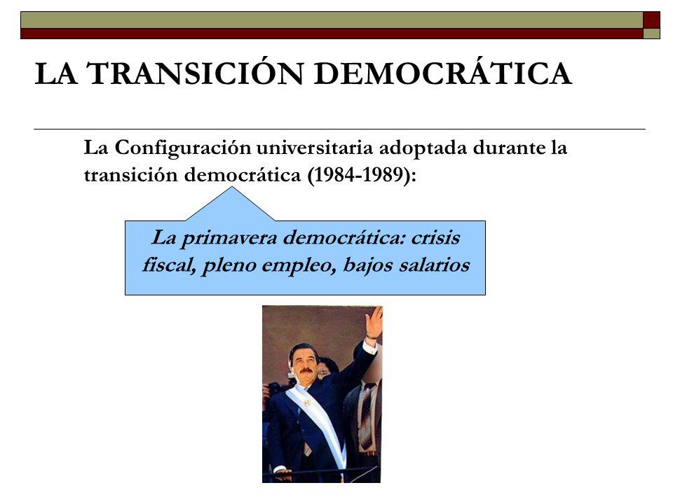 LA TRANSICIÓN DEMOCRÁTICA La Configuración universitaria adoptada durante la transición democrática (1984-1989): La primavera democrática: crisis fisc
