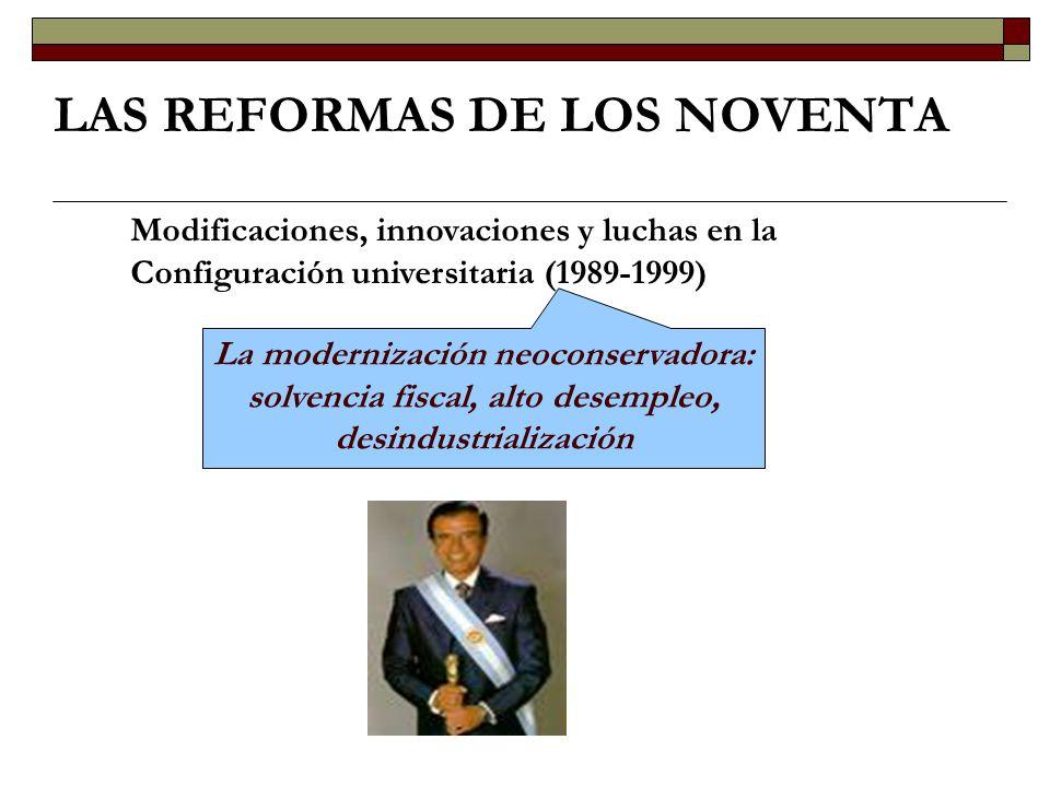 Las innovaciones de los noventa LAS REFORMAS DE LOS NOVENTA DIMENSIÓN INSTITUCIONAL DIMENSIÓN ACADÉMICA DIMENSIÓN SOCIAL Recuperación de la prioridad política La educación en la Constitución de 1994 Secretaría de Políticas Universitarias Ley de Educación Superior Préstamo sectorial del BIRF Fondo para el Mejoramiento de la Calidad Evaluación y acreditación - CONEAU Estancamiento de los sueldos Incentivos a la investigación Creación de nuevas universidades Erosión del ingreso directo y la gratuidad Expansión del posgrado y las carreras a distancia Fondos competitivos para investigación Descentralización de la política salarial