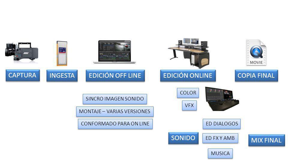 SINCRO IMAGEN SONIDO MONTAJE – VARIAS VERSIONES CONFORMADO PARA ON LINE SONIDO ED DIALOGOS ED FX Y AMB MUSICA MIX FINAL CAPTURA INGESTA EDICIÓN ONLINE