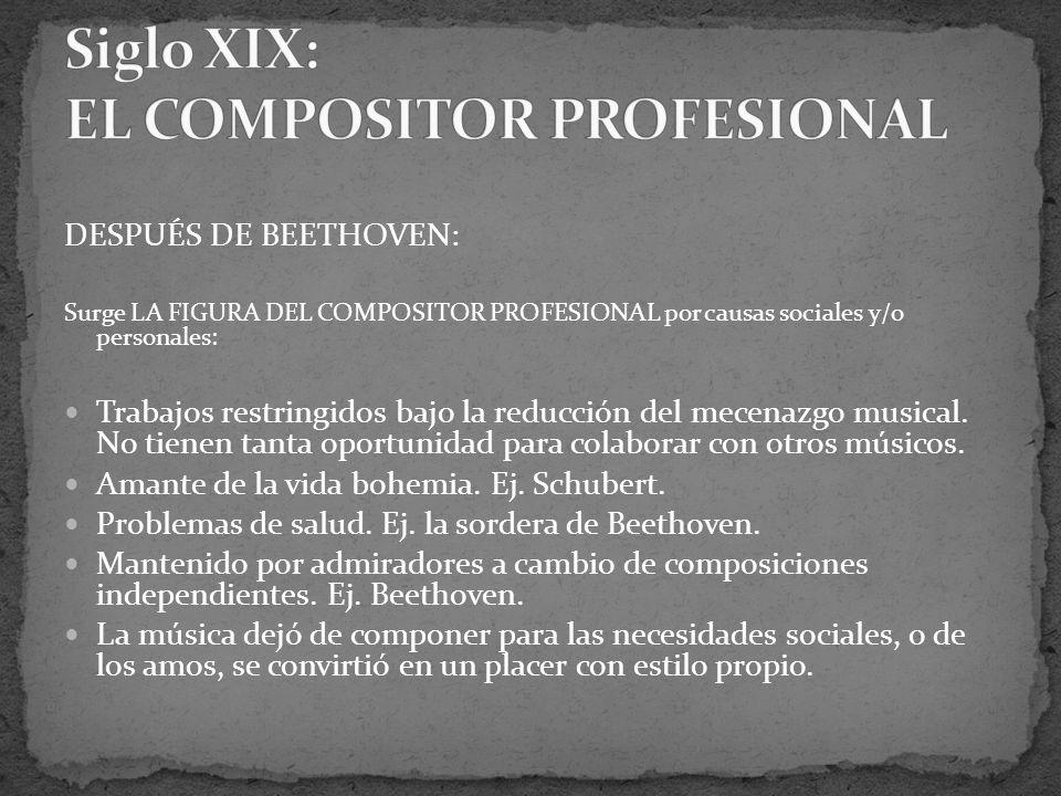 DESPUÉS DE BEETHOVEN: Surge LA FIGURA DEL COMPOSITOR PROFESIONAL por causas sociales y/o personales: Trabajos restringidos bajo la reducción del mecenazgo musical.