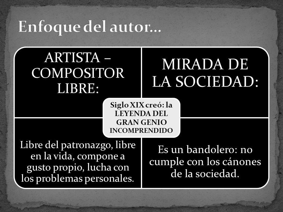 ARTISTA – COMPOSITOR LIBRE: MIRADA DE LA SOCIEDAD: Libre del patronazgo, libre en la vida, compone a gusto propio, lucha con los problemas personales.