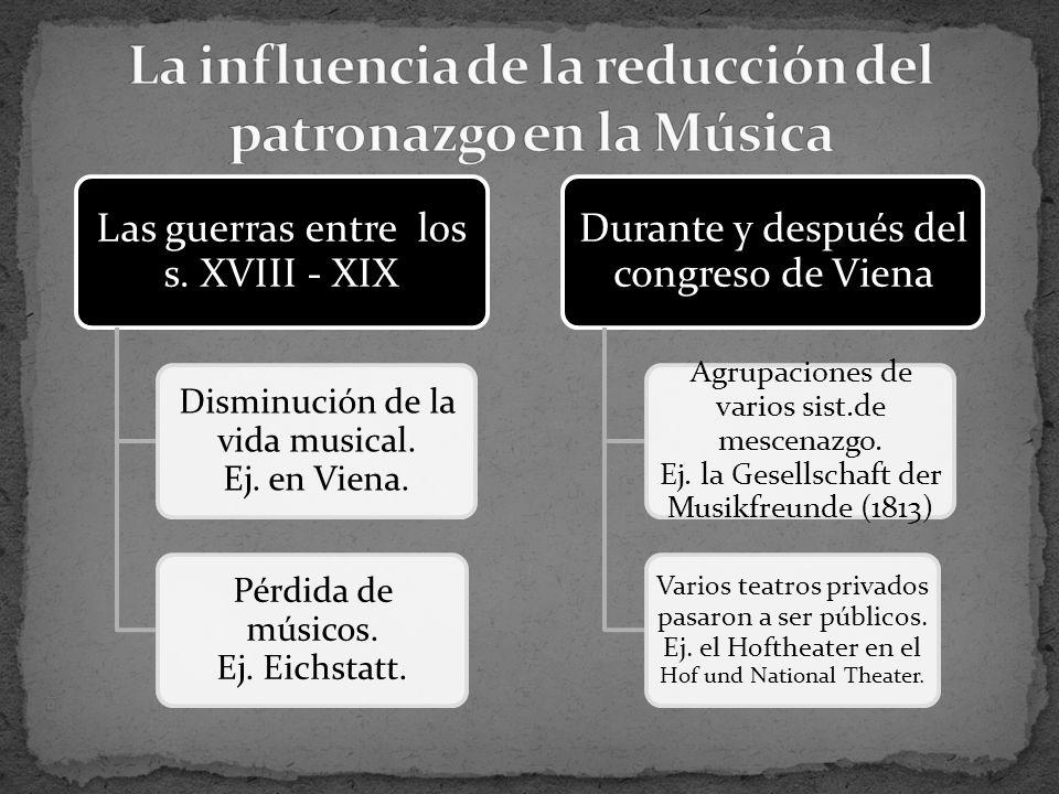 Las guerras entre los s. XVIII - XIX Disminución de la vida musical.