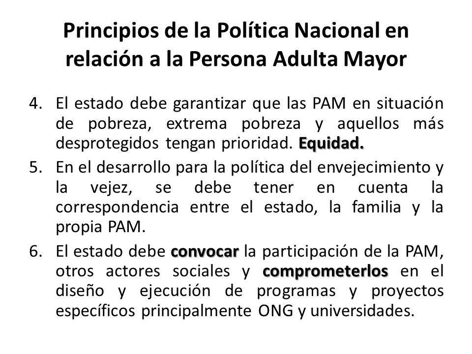 Principios de la Política Nacional en relación a la Persona Adulta Mayor Equidad. 4.El estado debe garantizar que las PAM en situación de pobreza, ext