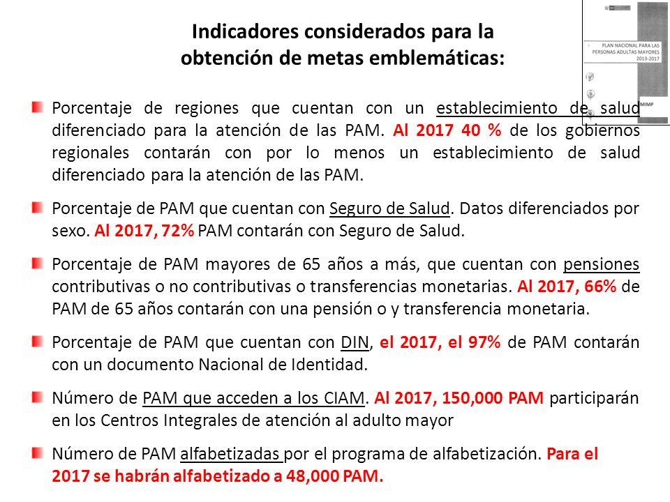 Porcentaje de regiones que cuentan con un establecimiento de salud diferenciado para la atención de las PAM. Al 2017 40 % de los gobiernos regionales