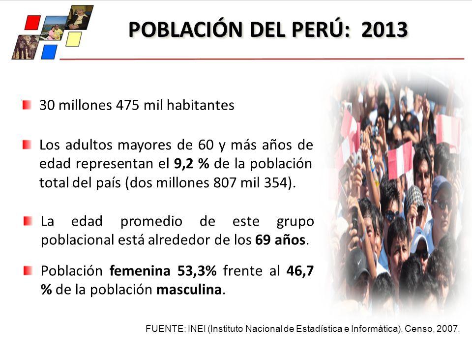 POBLACIÓN DEL PERÚ: 2013 FUENTE: INEI (Instituto Nacional de Estadística e Informática). Censo, 2007. 30 millones 475 mil habitantes Los adultos mayor