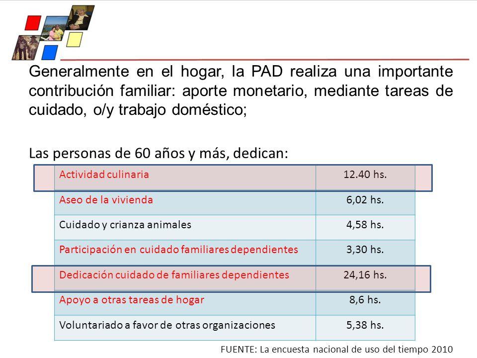 Generalmente en el hogar, la PAD realiza una importante contribución familiar: aporte monetario, mediante tareas de cuidado, o/y trabajo doméstico; La