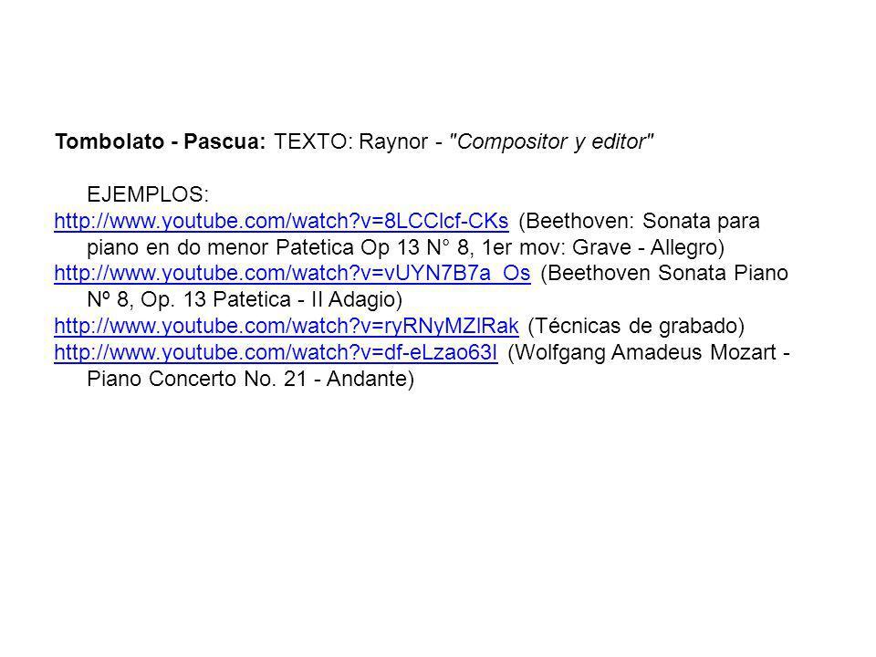 Tombolato - Pascua: TEXTO: Raynor -