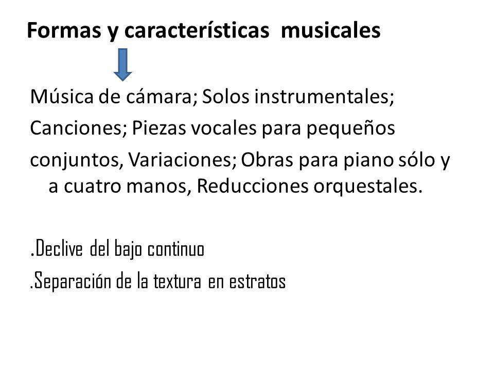Formas y características musicales Música de cámara; Solos instrumentales; Canciones; Piezas vocales para pequeños conjuntos, Variaciones; Obras para