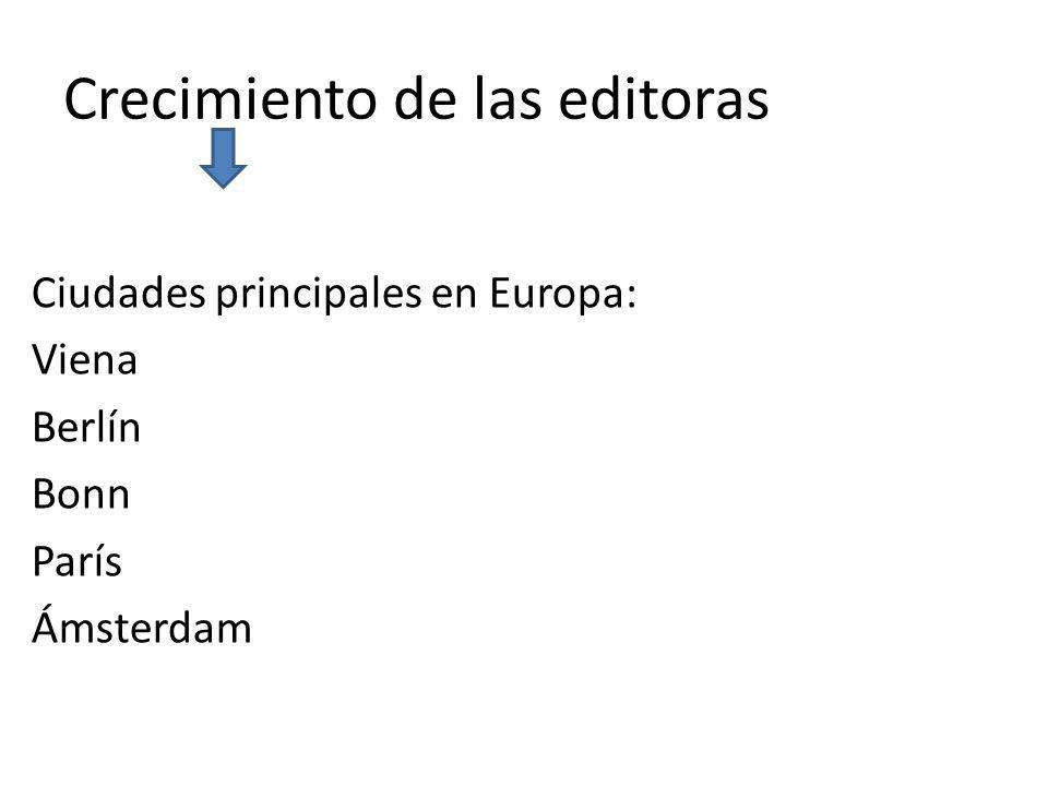 Crecimiento de las editoras Ciudades principales en Europa: Viena Berlín Bonn París Ámsterdam